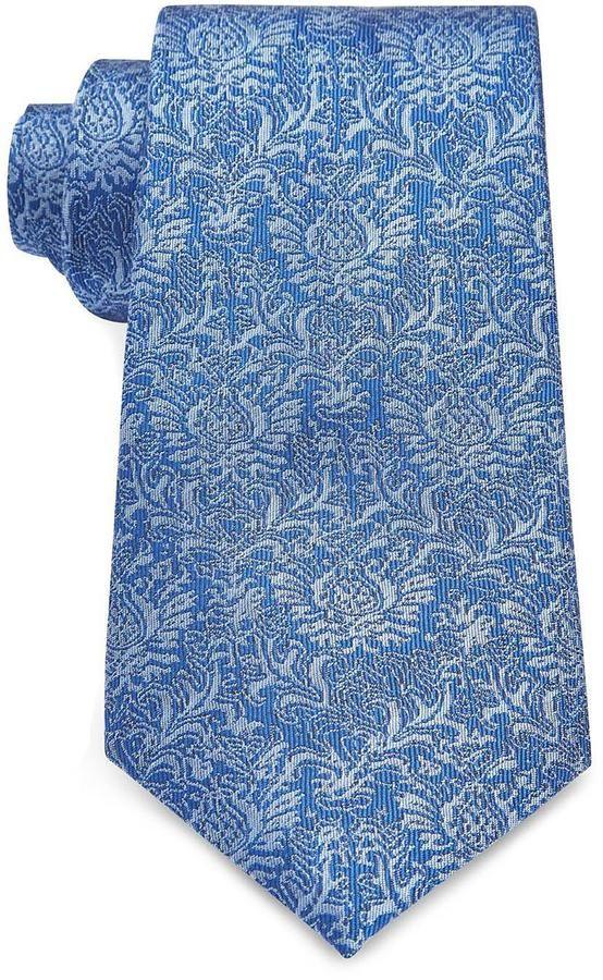 8cm Blue Floral Jacquard Silk Tie