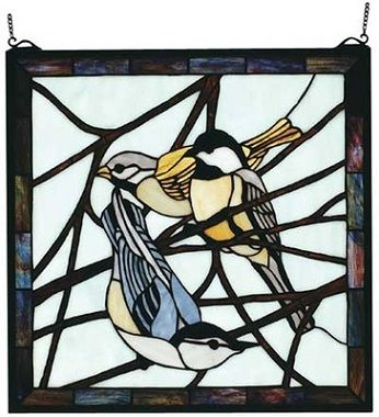 Three Birds on a Tree Branch Square Stained Glass Window | Home ...
