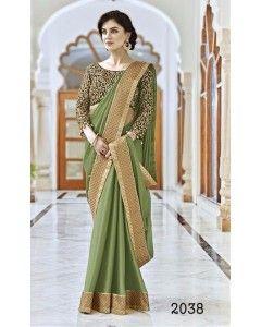 Dark Green Satin Silk Partywear Saree