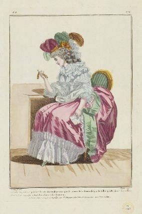 """""""La Belle inquiète, regardant l'heure du rendez-vous que son amant lui a demandé par le billet qu'elle tient: sa coeffure est à la Malborough et habillée d'une robe du matin"""", Gallerie des Modes, 1784"""