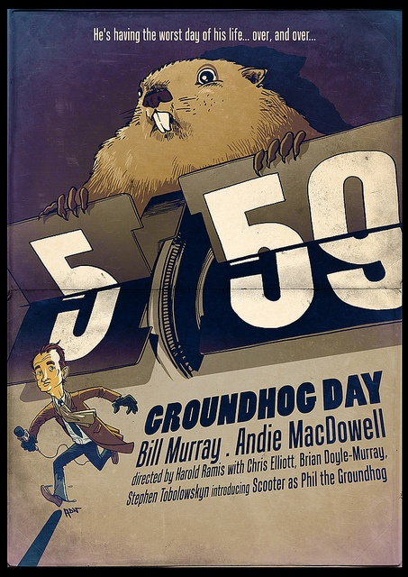 "Groundhog Day movie poster, with the falling ""5:59"" with which the film's fans are so familiar. But are *you* familiar with Groundhog Day's roots in history? Discover them here: http://landscaping.about.com/cs/pestcontrol/a/groundhog_day_4.htm"