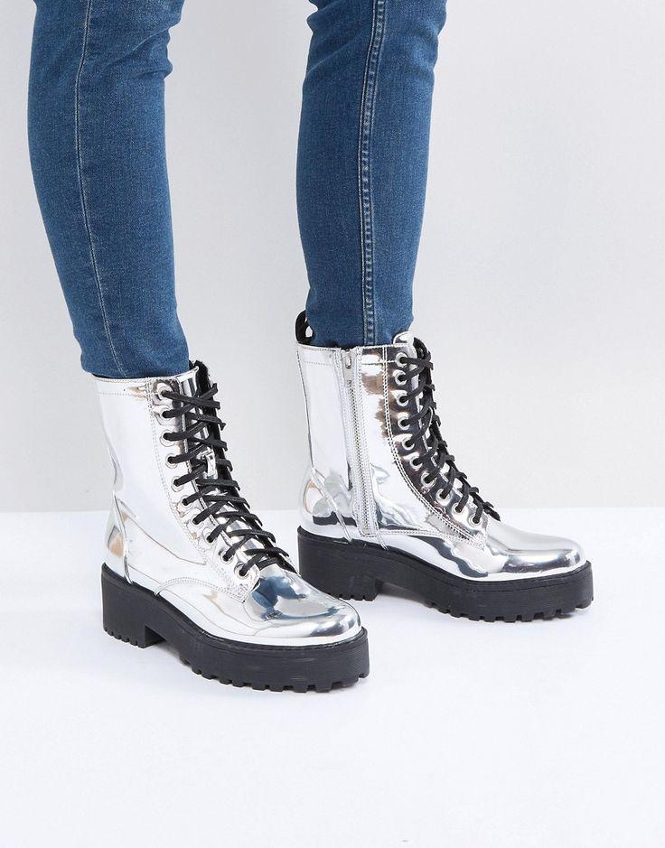 Monki Metallic Lace Up Biker Boot - Silver