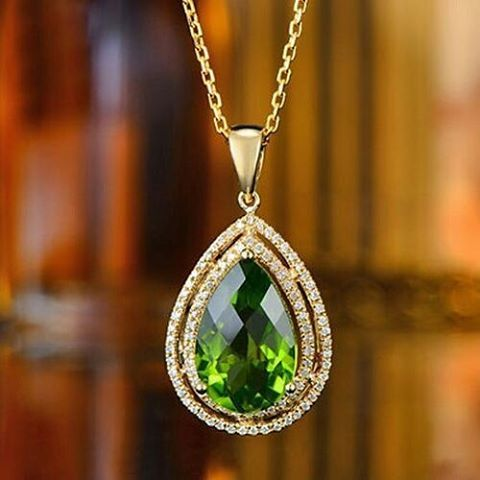 """20 Likes, 1 Comments - Suma Boutique (@sumagemboutique) on Instagram: """"4.88 Carats Natural Green Peridot with Diamond 14K Solid Yellow Gold Fine Pendant  Type : Natural…"""""""