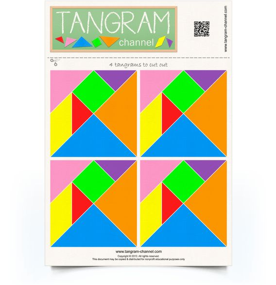 Four sets of tangram pieces - Free printable tangram puzzles - www.tangram-channel.com