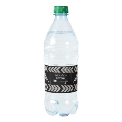 Tribal Birthday Water Bottle Labels | Silver Black - baby gifts child new born gift idea diy cyo special unique design
