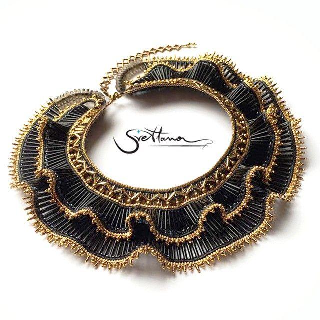 Shapito is done  #beadedjewelry #beadednecklace #handmade #handmadejewelry #beadedcollar #art #beads #black #gold #collarnecklace #collar #ruffles #bysvetlana #mytechnique