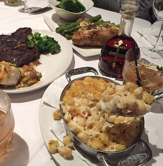 Lobster Mac & Cheese, Bone In Prime Ribeye Steak, Sea Bass over Fried Rice, Broccoli, Asparagus, and a Baked Potato and of course @dussecognac! By the way