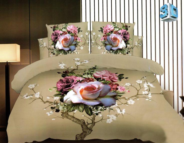 Kvetinové posteľné obliečky béžovej farby z mikrovlákna