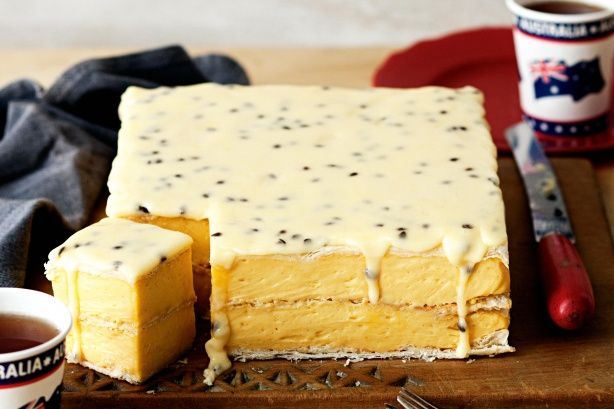 Although it's French in origin, Australians have made this slice their own with the addition of passionfruit.