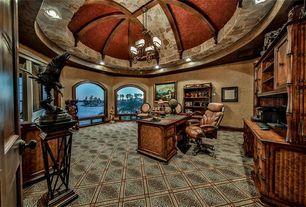 Mediterranean Home Office with High ceiling, Pendant Light, Exposed beam, Carpet, Built-in bookshelf