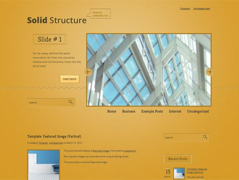 SolidStructure is excellent solution for your realty or other blog. This WordPress theme supports and comes with custom widgets, drop-down menus, javascript slideshow and lots of other useful features.