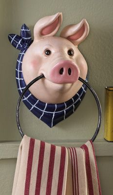 Country Farm Pig Kitchen Wall Mount Towel Holder hahaha - too cute - thought of you @Vicki Smallwood Spar