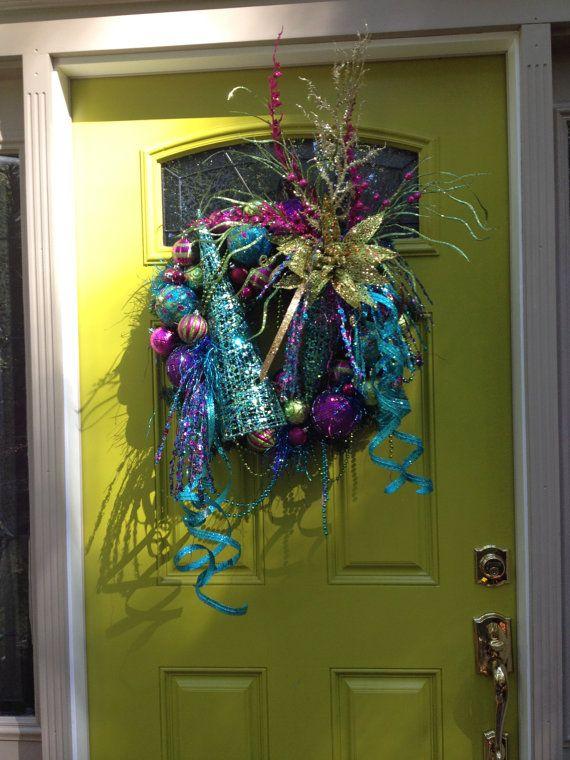 CHRISTMAS PEACOCK WREATH Striking Color by CustomFloralDesigns