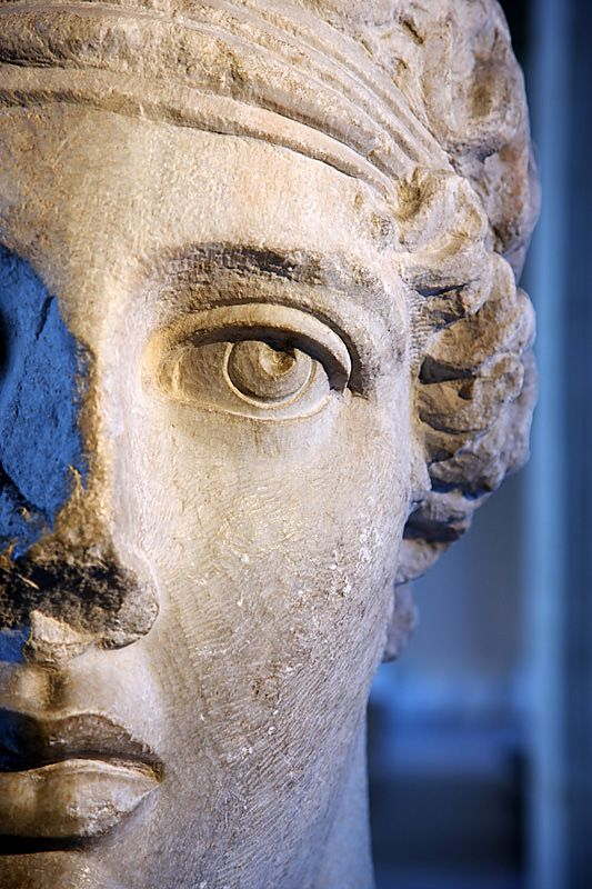 Marble head of poetess Sappho, Copy after Hellenistic original, from Smyrna, Turkey. Archaelogical Museum of Istanbul