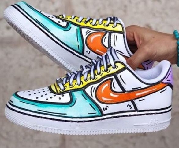 Cartoon custom coloured airforce 1's #aesthetic #shoes