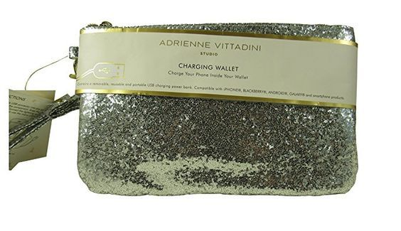 Cell Phone Charger Adrienne Vittadini Charging Wristlet Wallet Silver Glitter iPhone Android Wallet