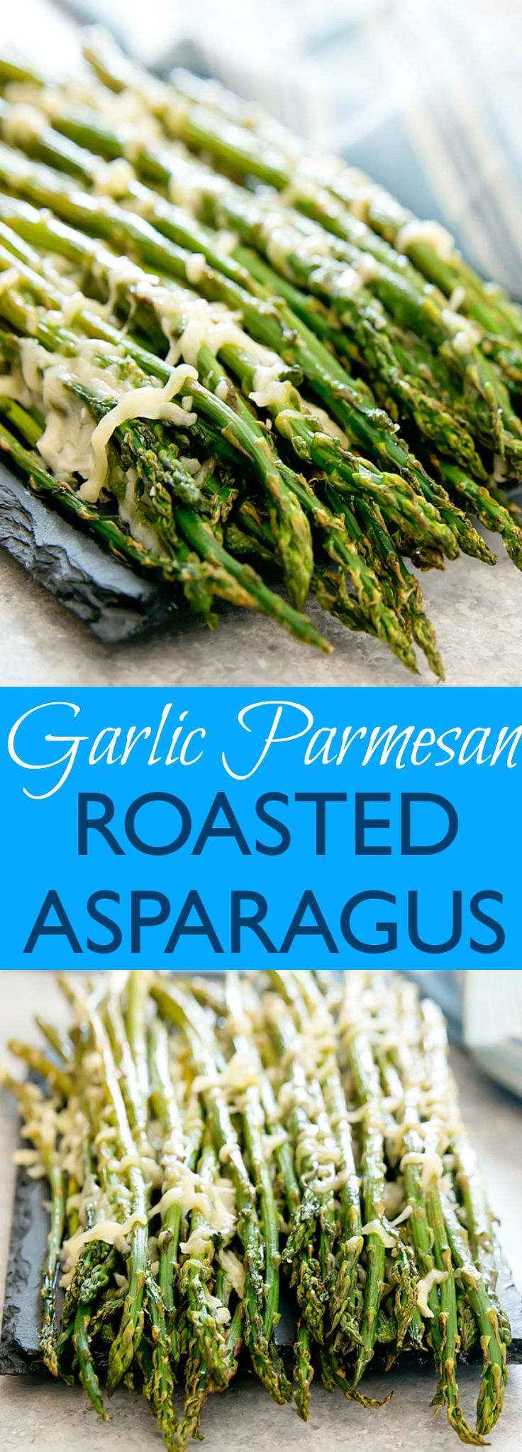 Garlic Parmesan Roasted Asparagus. An easy side dish with just four ingredients and ready in 15 minutes.