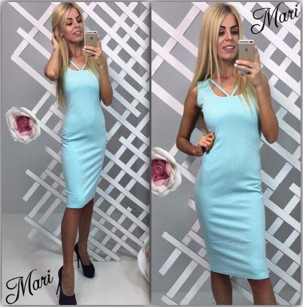 Платье облегающее без рукавов деловой стиль средней длины небесно-голубой