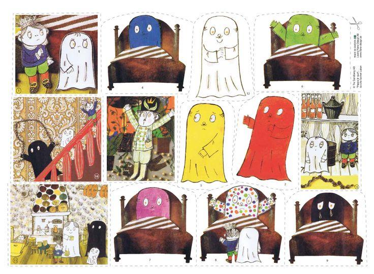 """En rolig berättelse om spöket Labans pappa som får """"färg-sjukan"""". Med sagan övar du färger och även veckodagar. Omtyckt flanosaga och förskolematerial!"""
