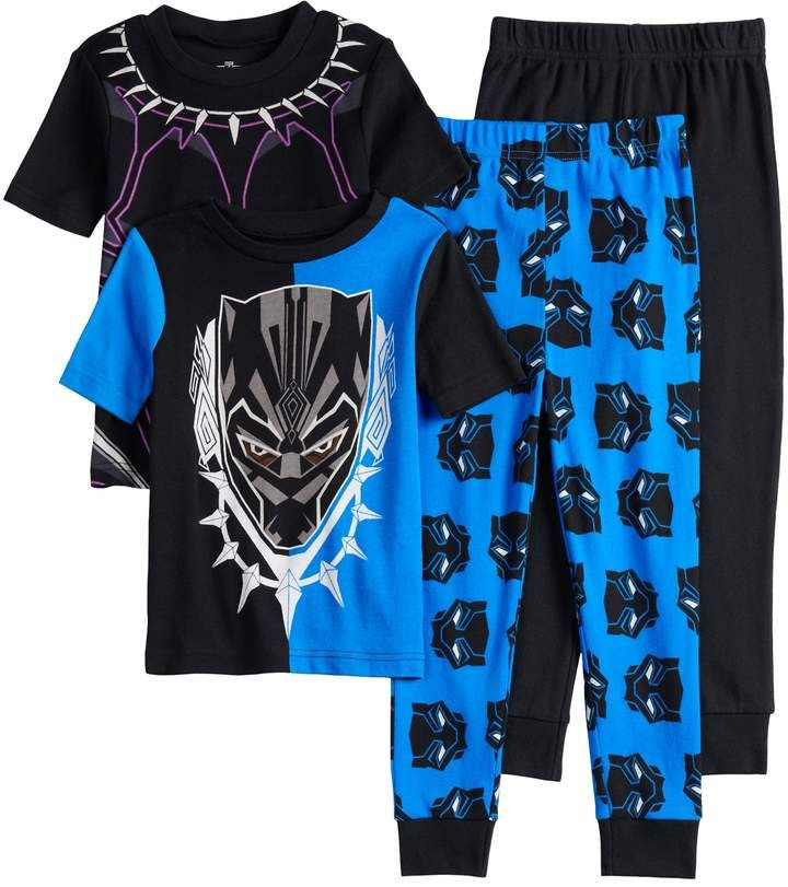 NWT Boy/'s Sz 4-5 Black Panther Flannel Pajamas NEW