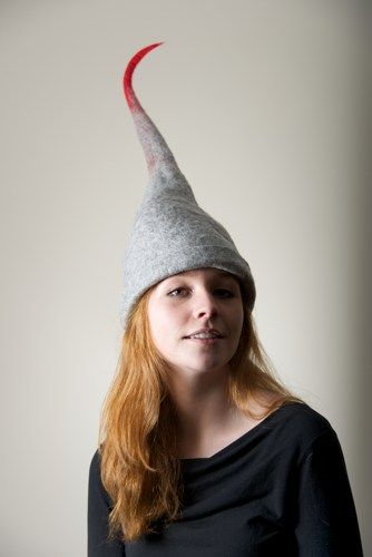 Grey Red Elf Hat Felting Winter  | purpleberry - Accessories on ArtFire