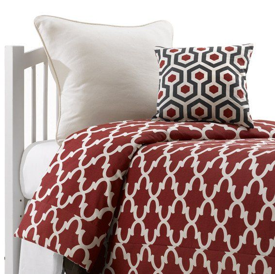 Red Quatrefoil Teen Dorm Comforter. Perfect for college or boarding school. Cotton bedding durable enough to stand up to the rigors of dorm life!