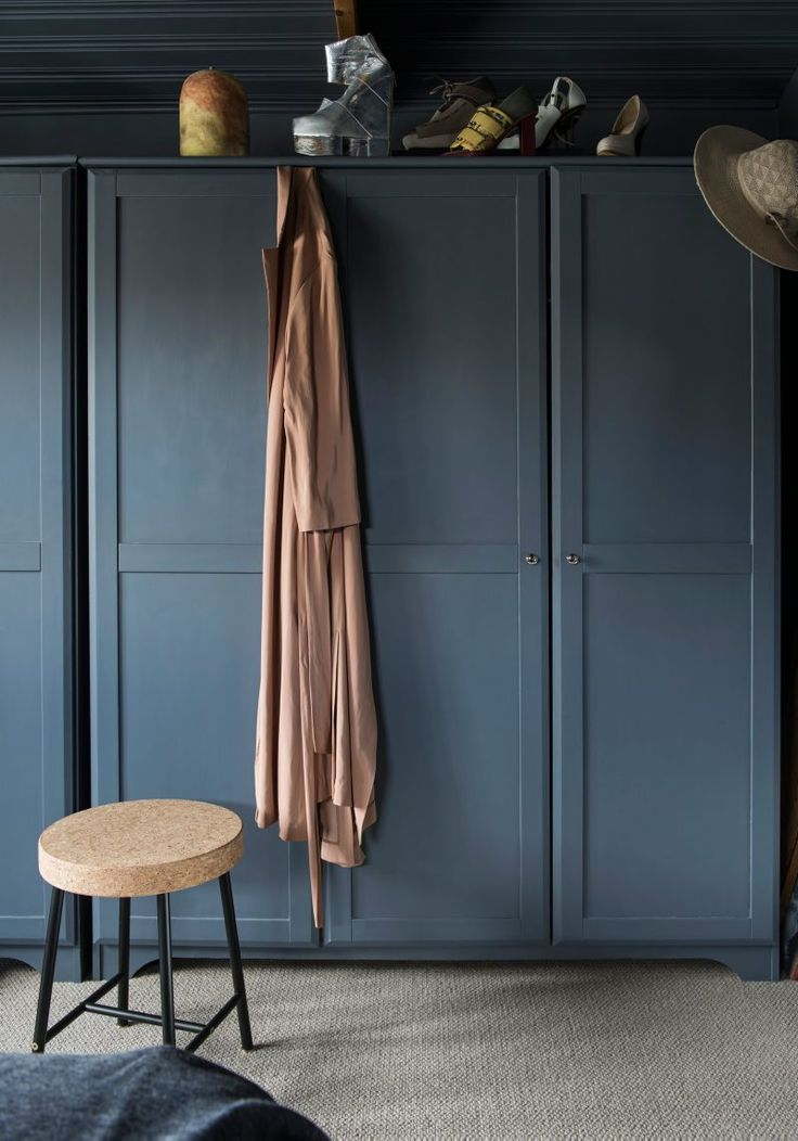 Blue Cabinets and Blue Wall   The home of Andreas Wilson - via Coco Lapine Design blog