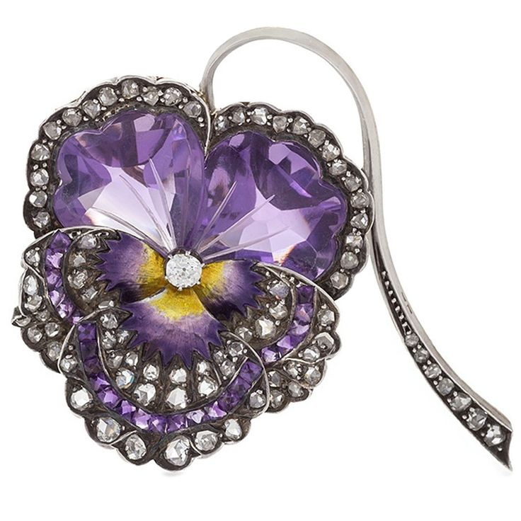 French Antique Enamel Amethyst Diamond Silver-Topped Gold Pansy Brooch | From a unique collection of vintage brooches at https://www.1stdibs.com/jewelry/brooches/brooches/