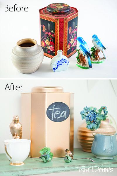 Transform those odd pieces into a beautiful collection. Gold spray. DIY home. #taradennis