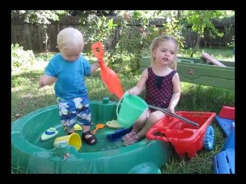 Oliver & Naomi in Backyard Kiddie Pool