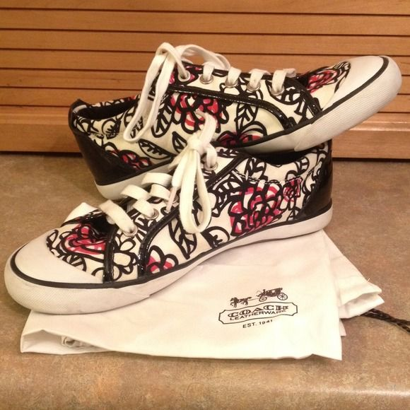 Coach Poppy Shoes Size 9.5 Women High demand pattern, not available in stores. Great, like-new condition! Black, White, and Red shoes- Poppy pattern. Size 9.5 $40 Coach Shoes