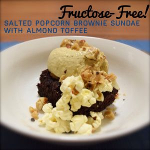 Fructose-Free! Salted popcorn brownie sundae with almond toffee...  #sugarfree #fructosefree #glutenfree #IQS #wholefoods #dessert #brownie #dreamingofalmonds