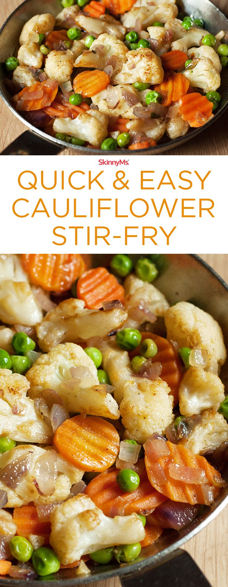 Our Quick & Easy Cauliflower Stir-Fry takes clean-eating to a whole new level. :) Only 11g of carbs and 4 SmartPoints #lowcal #lowcarb #skinnyms