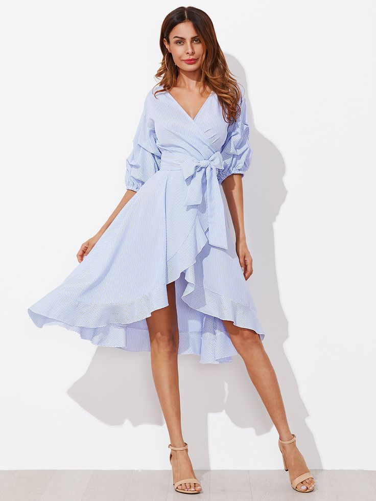 d1f316fec1e84 Shop Gathered Sleeve Surplice Wrap Pinstripe Dress online. SheIn offers  Gathered Sleeve Surplice Wrap Pinstripe