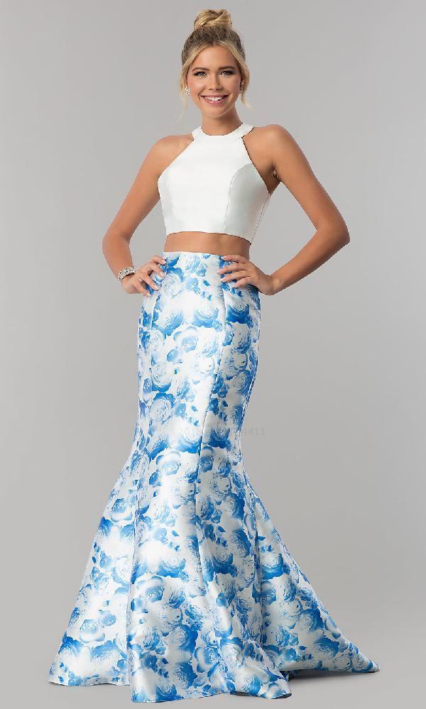 e081add761b5 Alyce Paris AL-60178-B dress, Blue Print Alyce Paris dresses Light Blue Prom  Dress, High Neck Prom Dress, Two Pieces Prom Dress, Blue Prom Dress, ...