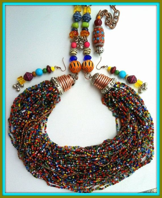 African Necklace Multicolored Rainbow Ethnic by BellaEmyJewels