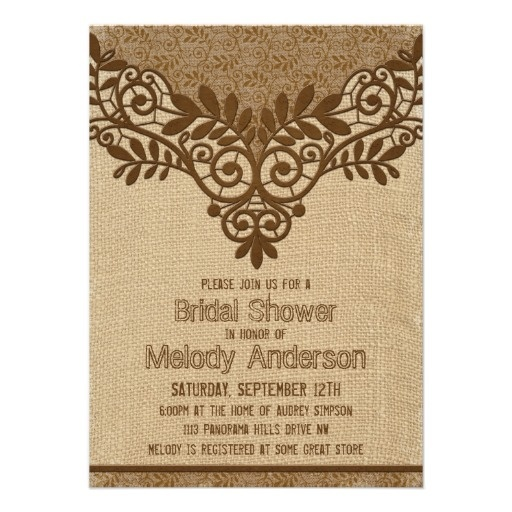 Since our lace and wood version of this invitation was so popular, here's a slight variation on the look. Instead of wood, the background is burlap. This has a more rustic theme as well. This rustic burlap and lace bridal shower Invitation can be personalized by you and purchased through our store on Zazzle. Just click on the image. Great for rustic or country themed showers. #weddings #bridalshower #weddingshower #rustic #country #burlap #lace #invitations