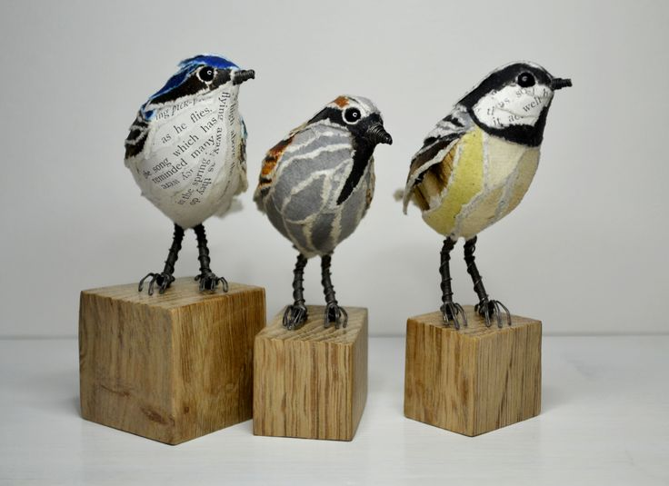 House Martin, Sparrow & Coal tit paper sculpture by Suzanne Breakwell www.suzannebreakwell.com