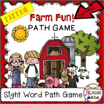 This path game goes with ANY farm-themed unit. The game cards are EDITABLE ! They can be customized to fit ANY skill: Sight words, letters, sounds, math facts etc.  Complete directions are included to make this a successful learning experience for your students.Words Used:about  all   are   away  been  but  came  can  come  did   down  each  find  first  for  get  go  good  have  her  here  him  how  if  in  into   jump   like   little   look  make  many  more  must  my   not  now   one…