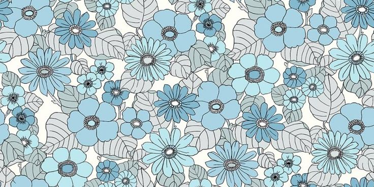 £35  Happy (3852) - Eco Wallpaper Wallpapers - A bold floral design with large scale flowers in bright shades of blue with grey leaves in a 70s style print. Other colours also available. This is a paste the wall product. Please request a sample for true colour match.