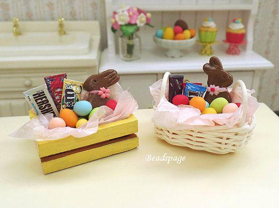 22 best easter hamper ideas images on pinterest hamper ideas dollhouse miniature easter bunny basket gift chocolate rabbit bunny eggs gift negle Gallery