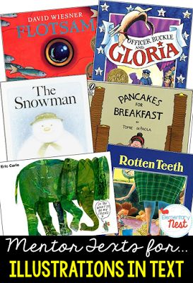 Primary mentor text suggested book list for illustrations in text- RL1.7, RL2.7, RL3.7 focusing on how illustrations in a text can tell an entire story or…
