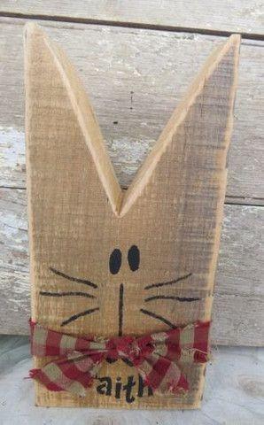 "COUNTRY ""Faith"" CAT Hand Painted Reclaimed Wood Rustic Folk Art Display"