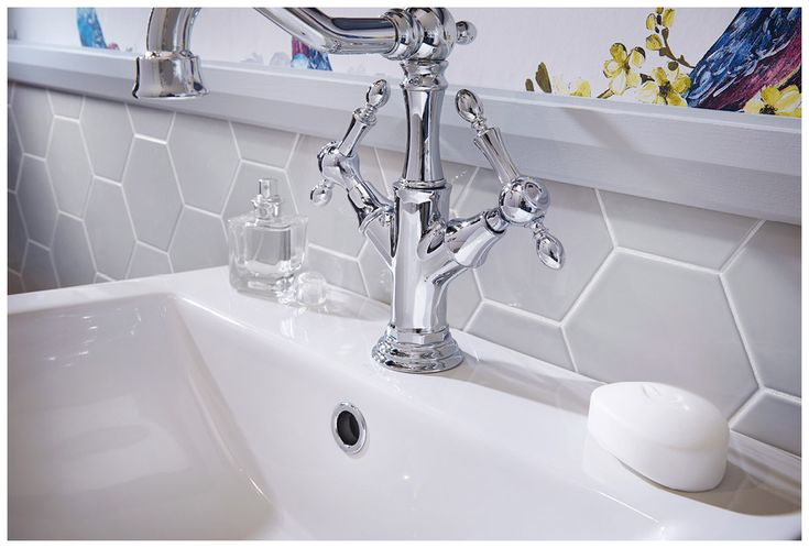 Regent basin monobloc mixer with hexo wall tiles in platinum#Roseberry #paintedtimber #bathroomfurniture #tiles #myutopia