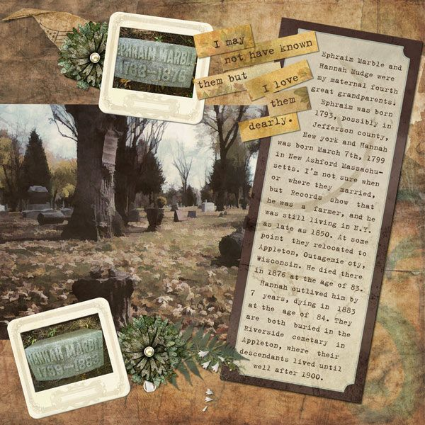 "Where They Were Buried ~ Scrap a page about the final resting place of your ancestors. Include basic genealogical facts as well as photos of the cemetery and gravestones. This digi page was created with ""Faces From The Past"" Page kits 1,2&3 by Elisabeth Weaver."