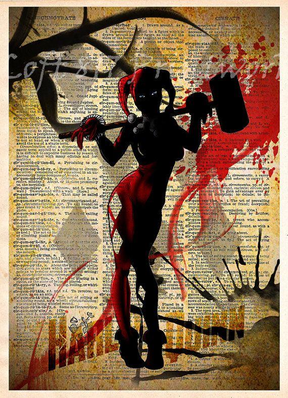 Hey, I found this really awesome Etsy listing at https://www.etsy.com/listing/211379608/harley-quinn-print-batman-art-vintage