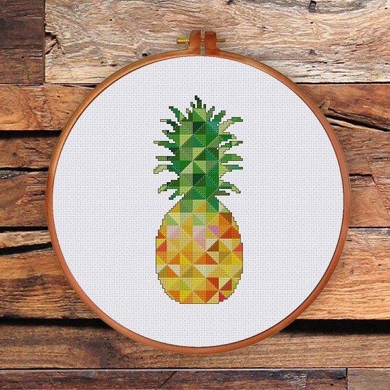 Geometric Pineapple geometric cross stitch pattern by ThuHaDesign