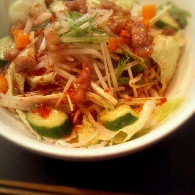 野菜たっぷり~♪♪ - 8件のもぐもぐ - 野菜たっぷり!!ピリ辛サラダそうめん by okoko175