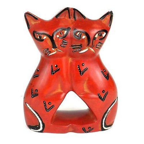 Handcrafted 4-inch Soapstone Love Cats Sculpture in Red - Smolart
