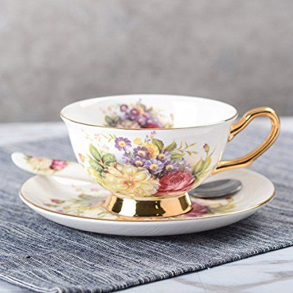Touch Life Bone China Ceramic Tea Cup Coffee Cup Set with Saucer,Small Flower ,White and Red,With Gift Box: Amazon.co.uk: Kitchen & Home